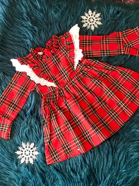 2018 Christmas Plaid Infant Ruffle Down The Front Long Sleeve Dress - JEN'S KIDS BOUTIQUE