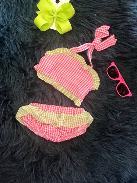 2018 Sweet Hot Pink & Lime Two Piece Seersucker Lined Swim Suit - JEN'S KIDS BOUTIQUE