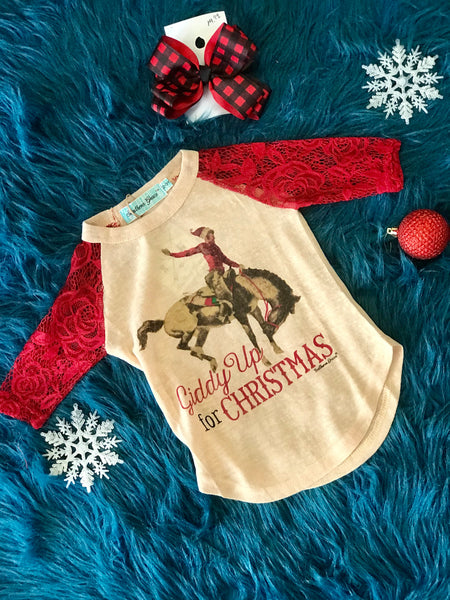 Southern Grace 2018 Christmas Girls Giddy Up For Christmas Raglan With Red Sleeves - JEN'S KIDS BOUTIQUE