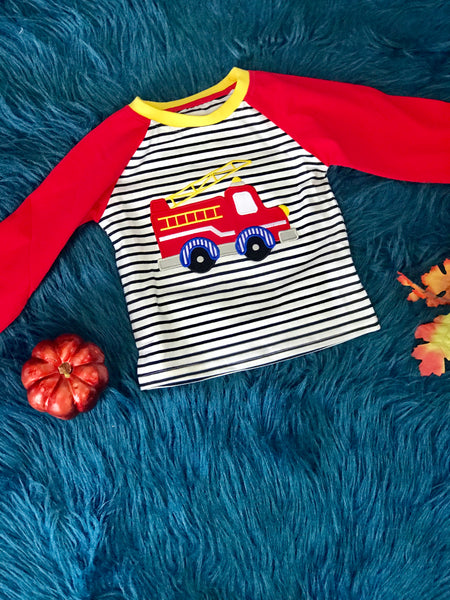 New Fall Be Mine Boys Stripped Fire Truck Long Sleeve Applique Shirt - JEN'S KIDS BOUTIQUE