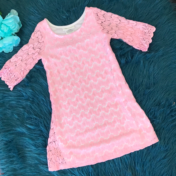 Spring Bonnie Jean White Dress w/ Pink Lace ECL - JEN'S KIDS BOUTIQUE