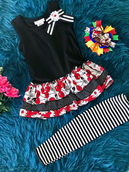 Spring Black Cherry Dress & Stripped Leggings Set - JEN'S KIDS BOUTIQUE