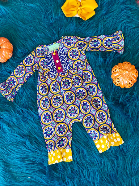 2018 Fall Sage & Lilly Mardi Gras Parade Romper - JEN'S KIDS BOUTIQUE