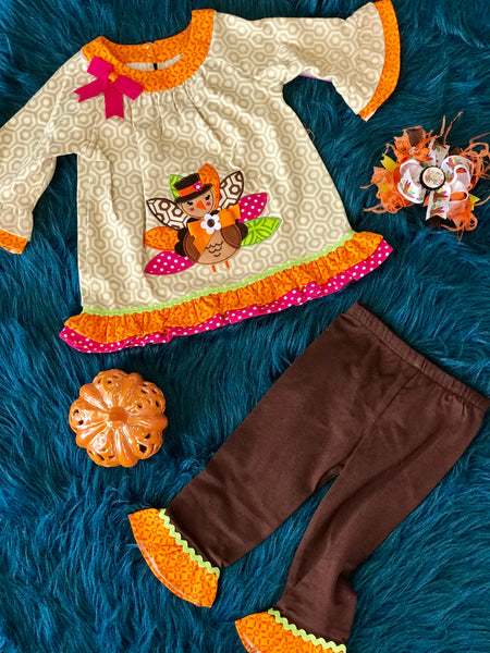 Fall Turkey Brown Print Turkey Pant Set T - JEN'S KIDS BOUTIQUE