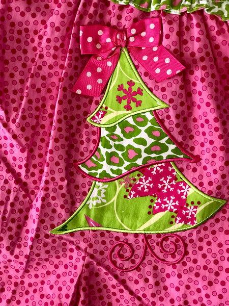 Mille Jay Christmas In Pink Christmas Tree Romper CH - JEN'S KIDS BOUTIQUE