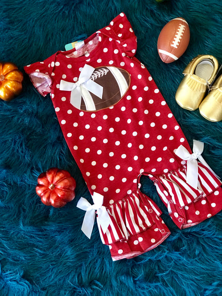 Fall Game Day Maroon Polka Dot Football Infant Romper - JEN'S KIDS BOUTIQUE