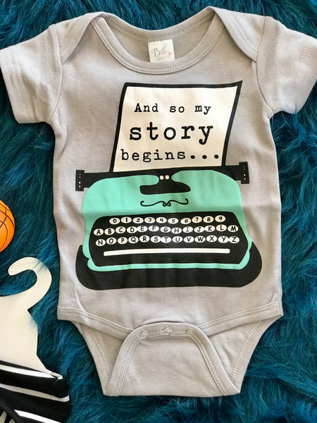 2018 Spring Boys Onesie And My Story Begins - JEN'S KIDS BOUTIQUE