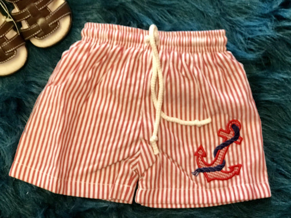 2018 Summer Boys Anchor Stripped Lined Swim Shorts - JEN'S KIDS BOUTIQUE