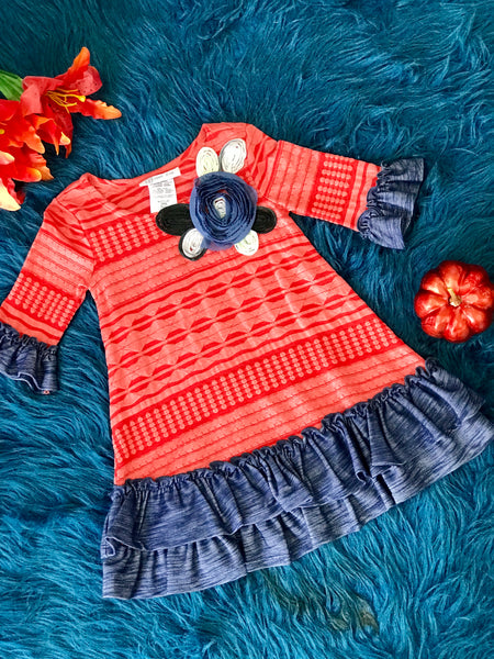 Fall Beautiful Coral Dress - JEN'S KIDS BOUTIQUE