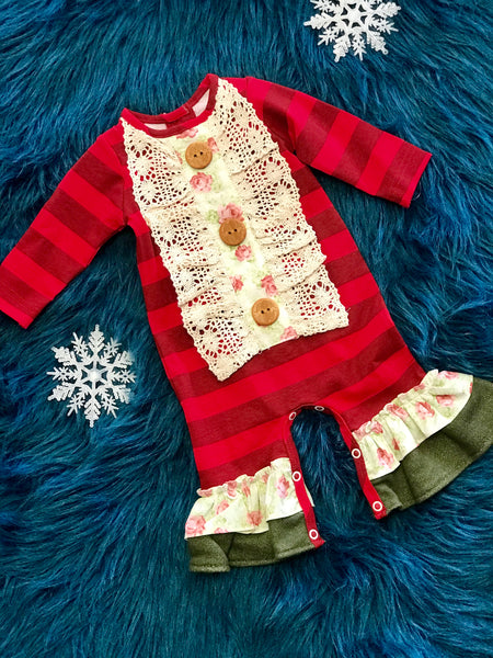 Peaches N Cream Red Flower Romper CLF - JEN'S KIDS BOUTIQUE