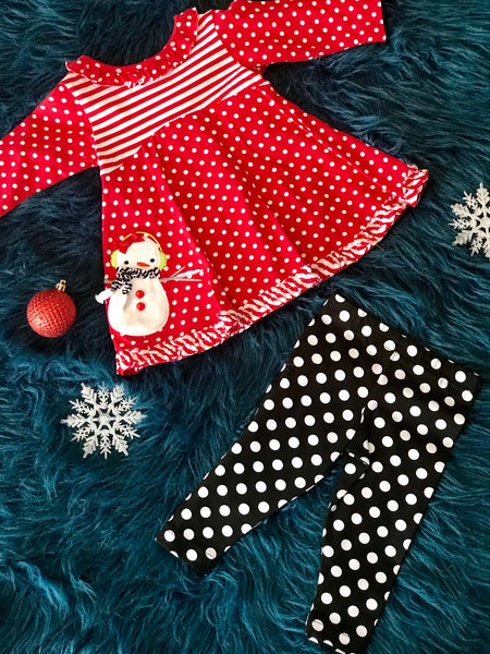 Molly N Millie By Peaches N Cream Red Stripped & Polka Dot Snowman CH - JEN'S KIDS BOUTIQUE