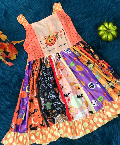 Unicorn Pumpkin Halloween Dress - JEN'S KIDS BOUTIQUE