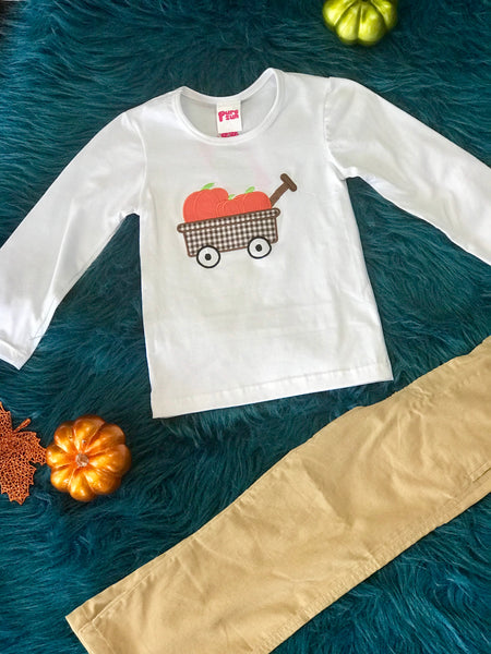 2018 Fall Boys White With Pumpkins Shirt - JEN'S KIDS BOUTIQUE