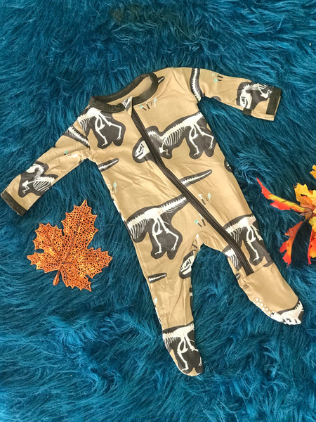 New Fall Kickee Pants Zipper Footie (Tanning T-Rex) - JEN'S KIDS BOUTIQUE