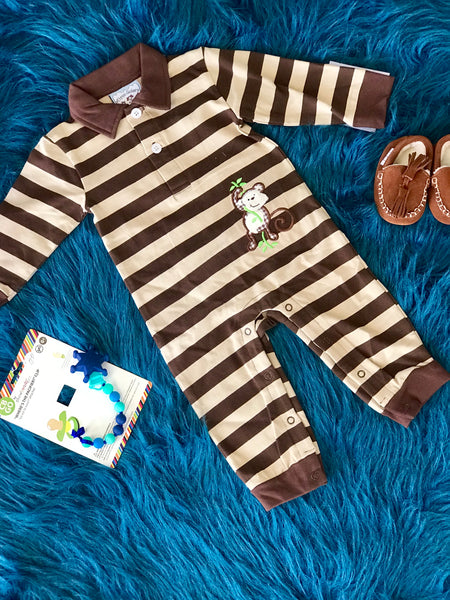 2018 Fall Boys Monkeying Around Applique Romper - JEN'S KIDS BOUTIQUE