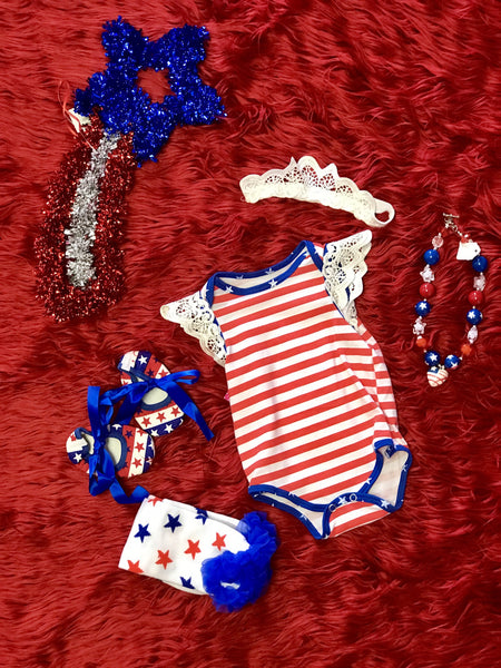 2018 Summer 4th Of July Red & White Stripped Angel Onesie W/ Headband - JEN'S KIDS BOUTIQUE