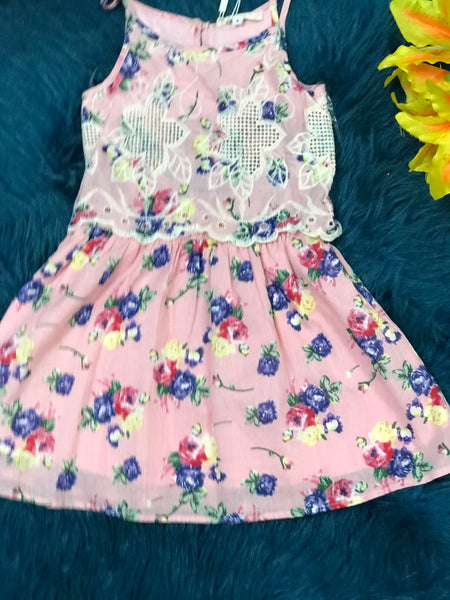 Baby Sara Pink Multi Border Embroidery Flyaway Overlay Dress C - JEN'S KIDS BOUTIQUE