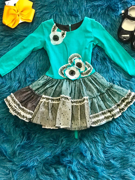 Isobella & Chloe Fall Aqua Ruffle Dress - JEN'S KIDS BOUTIQUE