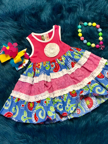 Spring Banana Split Hot Pink/ Blue Flower Sleeveless Dress - JEN'S KIDS BOUTIQUE