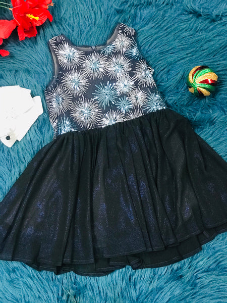 New Fall & Holiday Isobella & Chloe Blue Sparkle Snow Flake TuTu Dress C - JEN'S KIDS BOUTIQUE