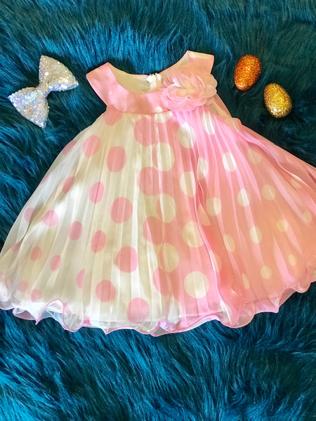 Spring Perfect Adorable Pink & White Polka Dot Dress - JEN'S KIDS BOUTIQUE