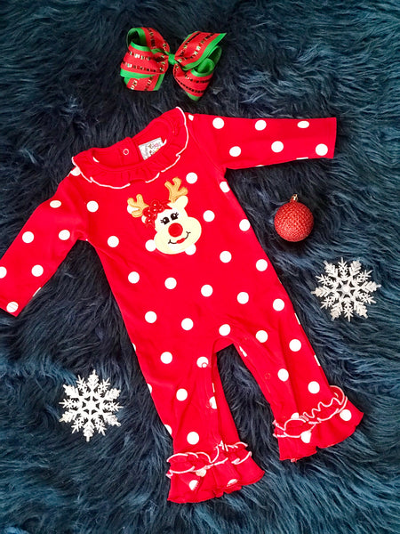 2018 Three Sisters Christmas Girls Ruffle Reindeer Infant Romper - JEN'S KIDS BOUTIQUE