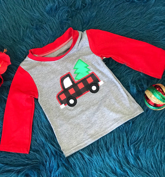 New Christmas Boys Vintage Plaid Truck Shirt - JEN'S KIDS BOUTIQUE