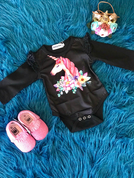 2018 Fall Infant Black Unicorn Long Sleeve Onesie - JEN'S KIDS BOUTIQUE