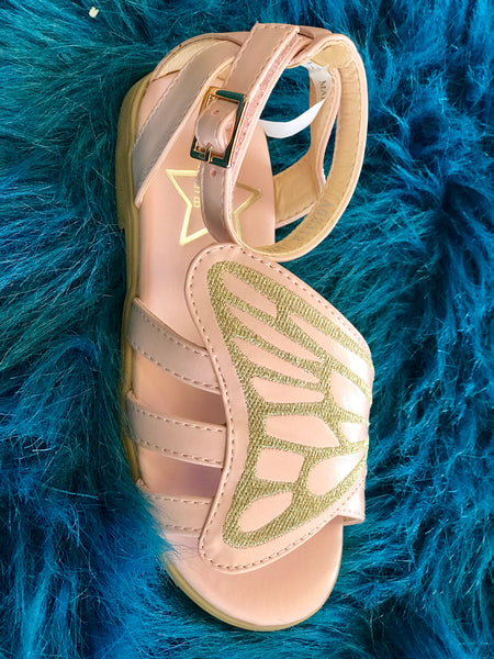2018 Spring Lara Bebe Shining Ivory & Gold Butterfly Girls Sandals - JEN'S KIDS BOUTIQUE
