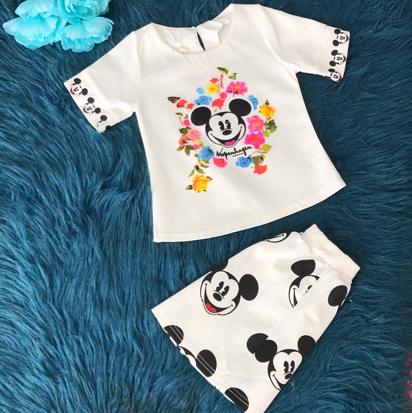 Floral Mickey Mouse Short Set CLS