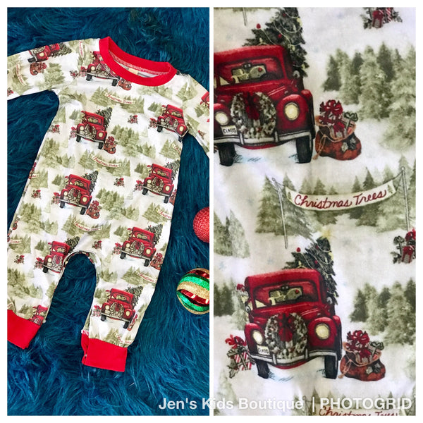 New Fall Christmas Boys Holiday Trucking Fun Infant Bodysuit
