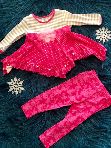 Peaches & Cream  Gray & Pink  Set - JEN'S KIDS BOUTIQUE
