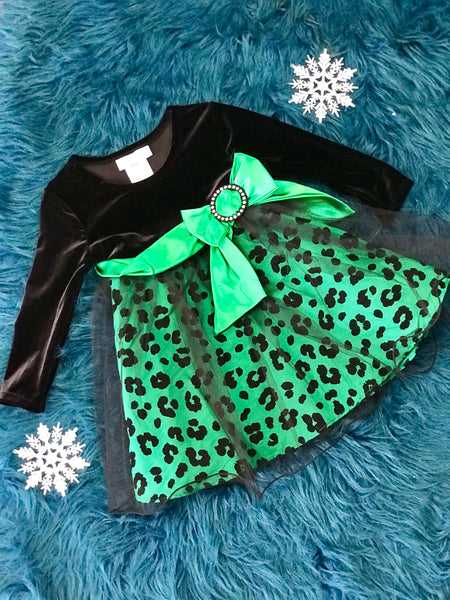 Black Velvet & Green Cheetah Dress - JEN'S KIDS BOUTIQUE