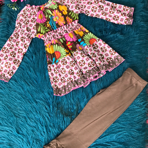 Ann Loren Pink & Brown Colorful Pant Set - JEN'S KIDS BOUTIQUE