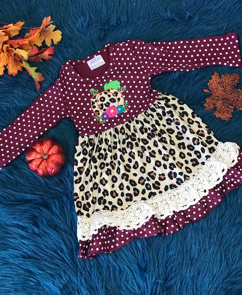 New Fall Girls Ruffle Maroon & Cheetah Pumpkin Dress - JEN'S KIDS BOUTIQUE