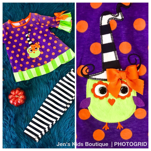 Molly & Millie By Peaches N Cream Halloween Purple Polka/Dot Witch Owl Pant set - JEN'S KIDS BOUTIQUE