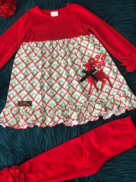 New Christmas Millie Jay Regal Reindeer App LS Top & Leggings - JEN'S KIDS BOUTIQUE