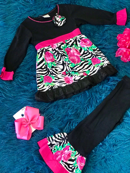 Fall Ann Loren Black & Pink Zebra Design Ruffle Pant Set - JEN'S KIDS BOUTIQUE