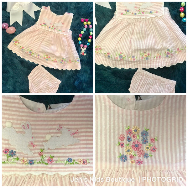 2018 Spring Cotton Kids Easter Bunny Infant Dress & Bloomers - JEN'S KIDS BOUTIQUE