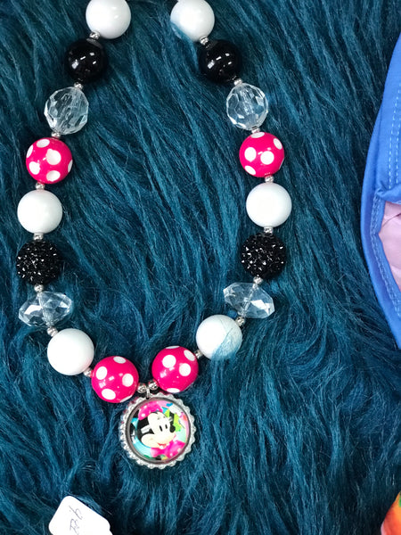 Character Fun Hot Pink & White Chunky Beads Minnie Necklace - JEN'S KIDS BOUTIQUE