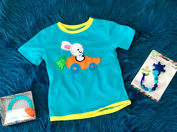 2019 Easter Boys Blue W/Bunny In A Car Shirt - JEN'S KIDS BOUTIQUE