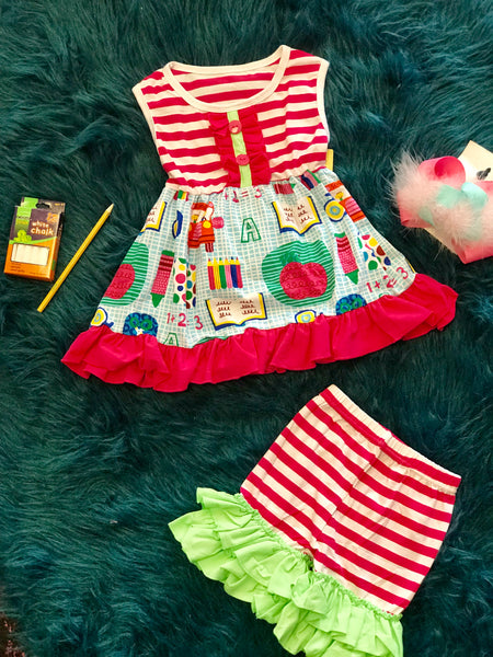 2018 Fall Back To School Fun Design Stripped With Stripped Capri Shorts Set - JEN'S KIDS BOUTIQUE