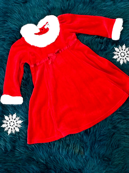 Christmas Red Fur Santa Dress With Red Ribbon Belt - JEN'S KIDS BOUTIQUE