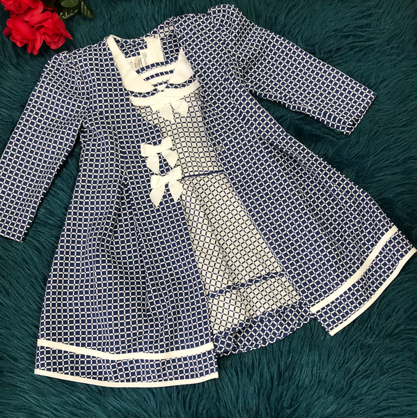Bonnie Jean Blue & White Dress & Jacket Set - JEN'S KIDS BOUTIQUE
