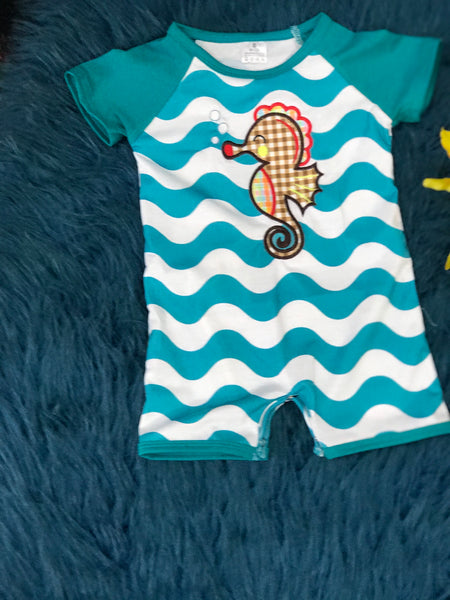 Summer Fun Aqua Chevron Sea Horse Boys Romper - JEN'S KIDS BOUTIQUE