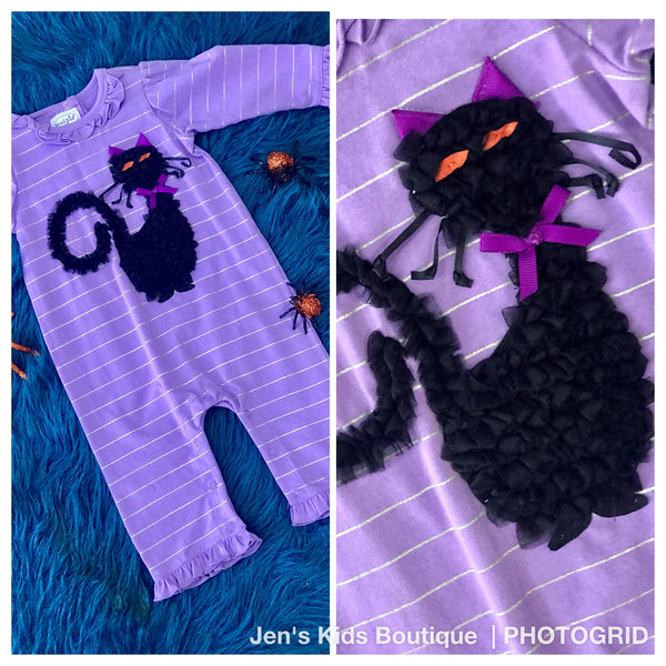 Mudpie Purple Halloween Cat Infant Romper. H - JEN'S KIDS BOUTIQUE