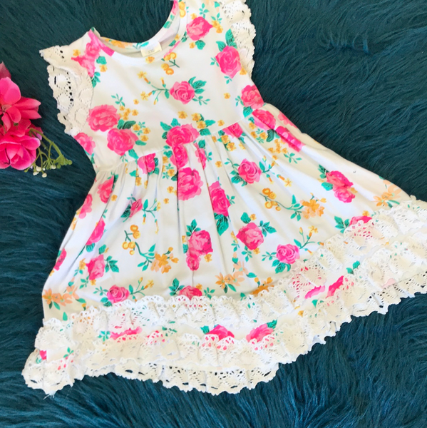 White Floral Dress w/ Crochet Lining CLS