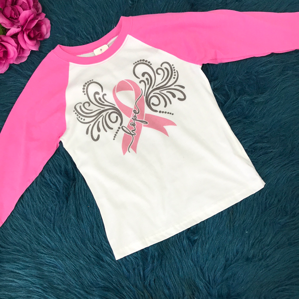 Breast Cancer Awareness Pink & White Raglan - JEN'S KIDS BOUTIQUE