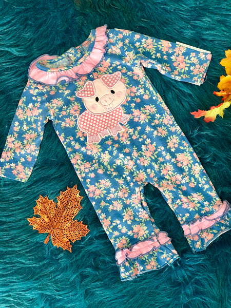 New Fall Three Sisters  Little Piggy Ruffle Romper - JEN'S KIDS BOUTIQUE