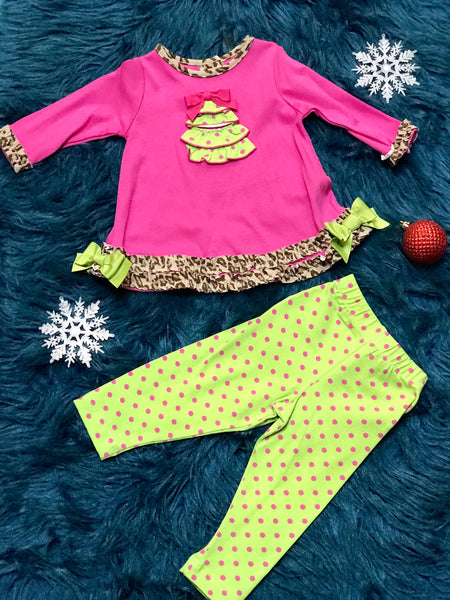 Molly & Millie By Peaches N Cream Holiday Christmas Hot Pink Tree Infant Set CH - JEN'S KIDS BOUTIQUE